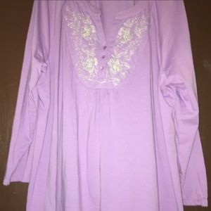 Woman Within Lilac Long Sleeve Cotton Top Sz 22W
